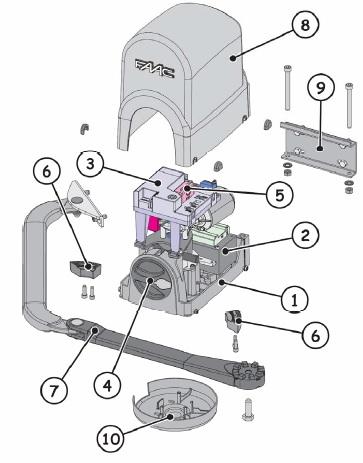 составные части электропривода FAAC 391